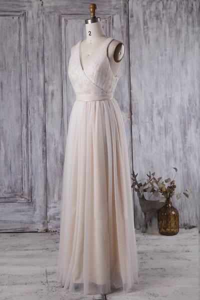 Ruffle V-neck Floor Length Lace Wedding Dress_4