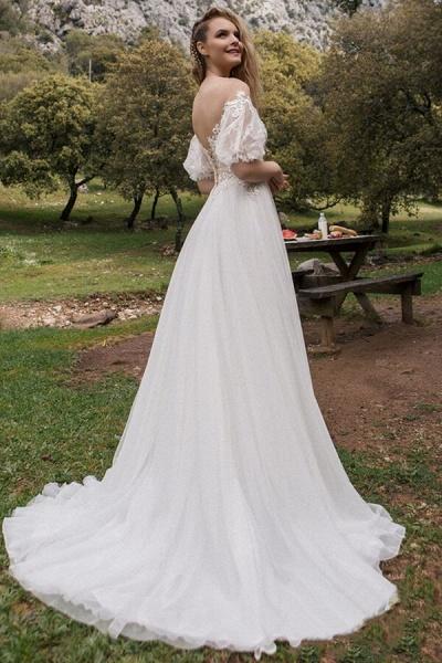 Elegant Half-sleeve Appliques Tulle Wedding Dress_3