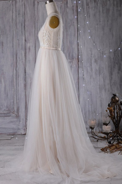 Graceful Appliques Sweep Train A-line Wedding Dress_6
