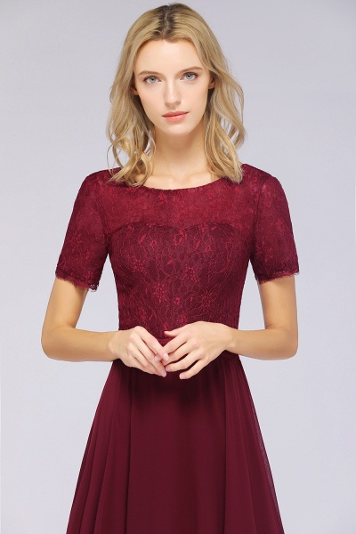 A-Line Chiffon Lace Round-Neck Short-Sleeves Floor-Length Bridesmaid Dress_7