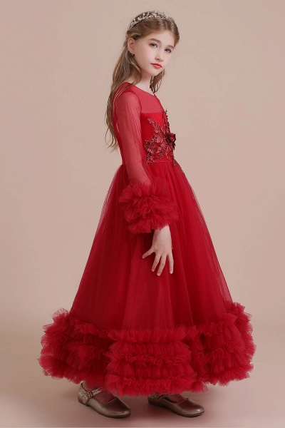 Long Sleeve Applique Tulle A-line Flower Girl Dress_9