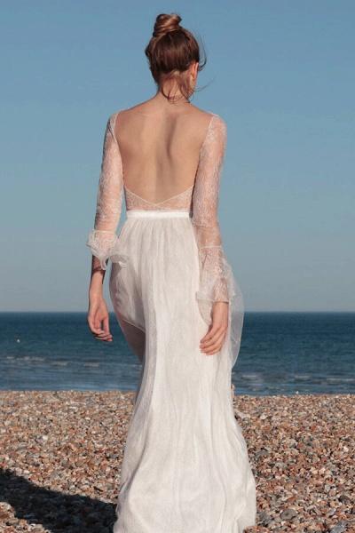 Open Back Long Sleeve Lace A-line Wedding Dress_3