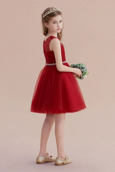 Illusion Tulle Knee Length A-line Flower Girl Dress_8
