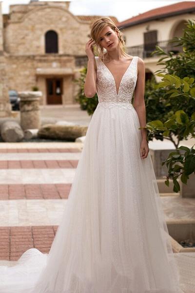 Elegant V-neck Lace Tulle A-line Wedding Dress_1
