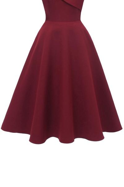 Trendy Spaghetti Straps Sleeveless Princess Vintage Dresses | Womens Retro V-neck Burgundy Cocktail Dress_14