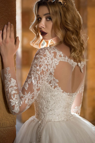 Appliques Long Sleeve Tulle Ball Gown Wedding Dress_5