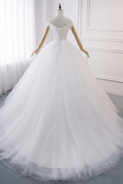 Amazing V-neck Lace Tulle Ball Gown Wedding Dress_3