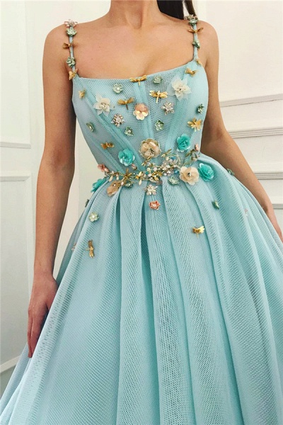 Modest Spaghetti Straps Tulle Ball Gown Prom Dress_2