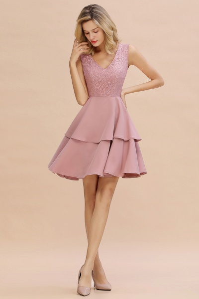 Sexy V-neck V-back Knee Length Homecoming Dress with Ruffle Skirt_15