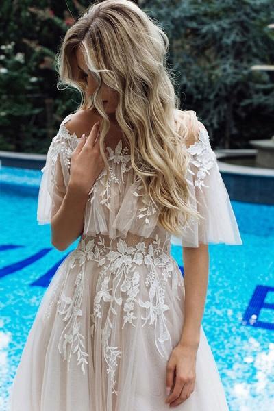 Appliques Off-the-shoulder A-line Wedding Dress_5