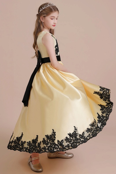 Chic Bow Appliques Satin A-line Flower Girl Dress_7