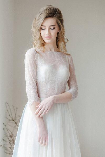 Amazing Sheer Lace Tulle Floor Length Wedding Dress_7