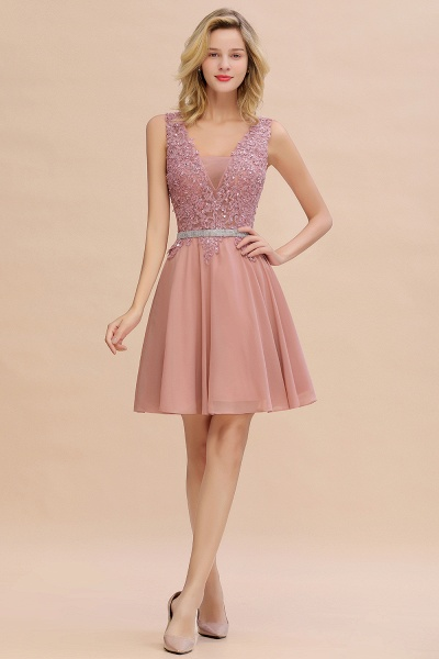 Cute Deep V-neck Short Homecoming Dress with Beaded Belt_1