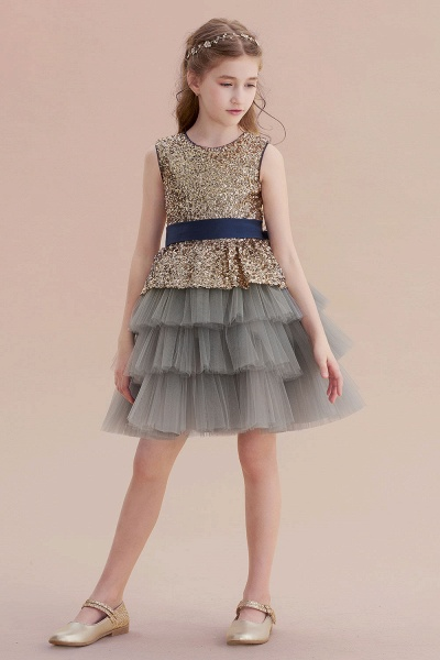 Sequins Tulle A-line Knee Length Flower Girl Dress_7