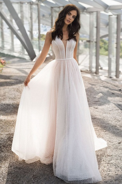 Awesome Sequins Tulle A-line Wedding Dress_1