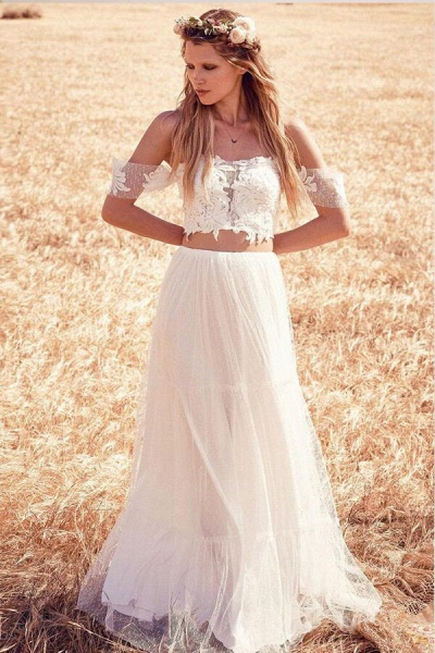 Chic Appliques Tulle Off-the-shoulder Wedding Dress_1