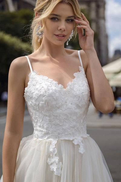 Spaghetti Strap Appliques A-line Wedding Dress_5