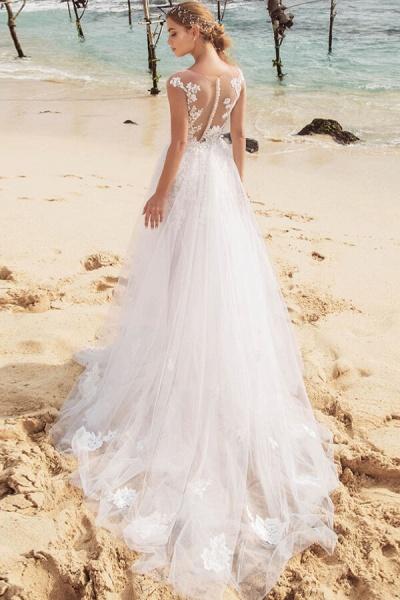 Graceful Cap Sleeve Appliques Mermaid Wedding Dress_3