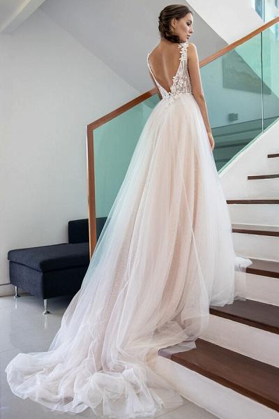 Appliques Chapel Train Tulle A-line Wedding Dress_3
