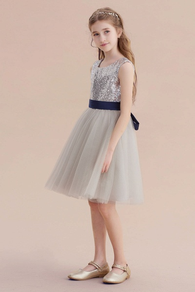 Elegant Sequins Tulle A-line Flower Girl Dress_4