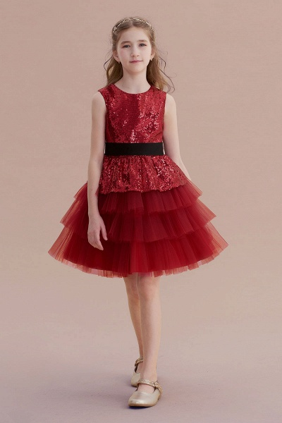 Tulle Sequins A-line Knee Length Flower Girl Dress_1