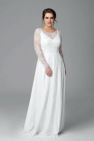 Plus Size Long Sleeve Lace A-line Wedding Dress_4