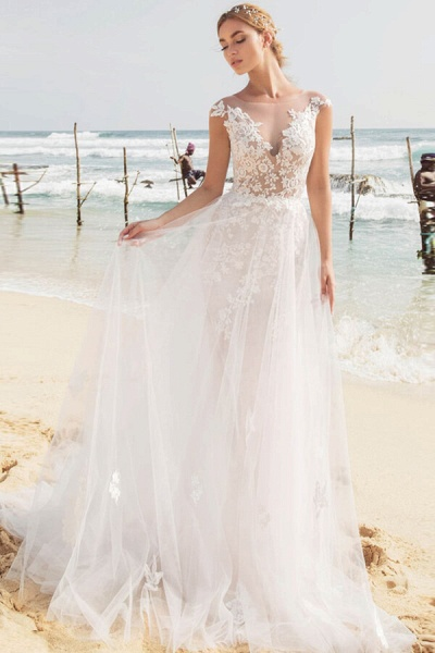 Graceful Cap Sleeve Appliques Mermaid Wedding Dress_2