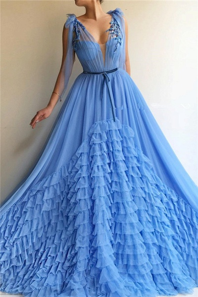 Fascinating V-neck Tulle A-line Prom Dress_1