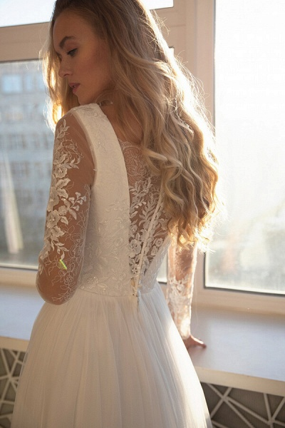 Awesome Long Sleeve Lace Tulle A-line Wedding Dress_3