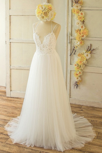 Elegant Appliques Tulle A-line Wedding Dress_1