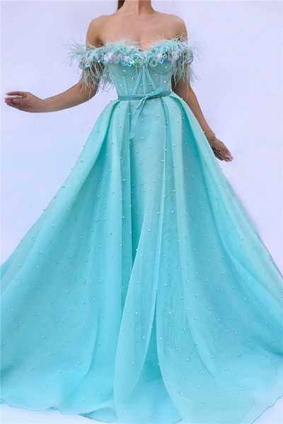 Fascinating Off-the-shoulder Tulle A-line Prom Dress_1