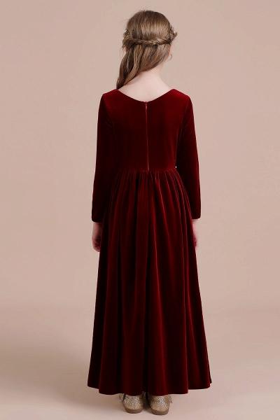 Long Sleeve A-line Velvet Flower Girl Dress_3