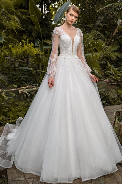 Appliques Long Sleeve Tulle Ball Gown Wedding Dress_1