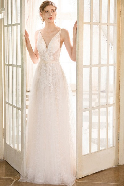 Best Cathedral Train Tulle A-line Wedding Dress_1