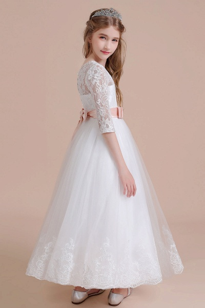 Illusion Lace Tulle Ankle Length Flower Girl Dress_5