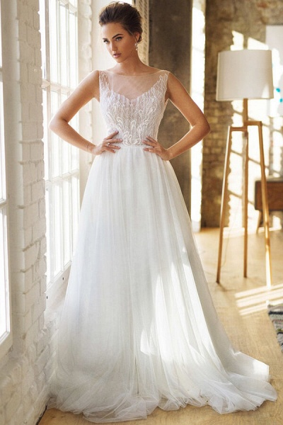 Affordable Chapel Train A-line Tulle Wedding Dress_4