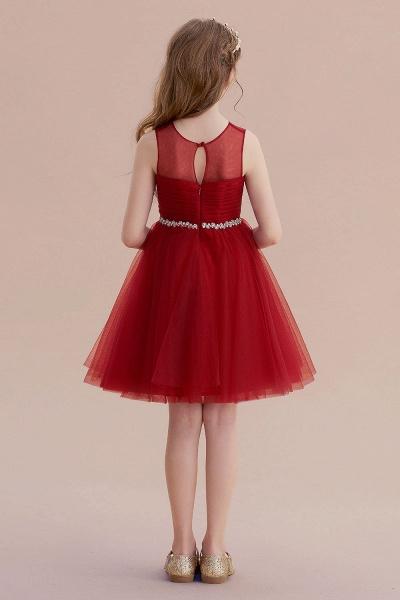 Illusion Tulle Knee Length A-line Flower Girl Dress_3