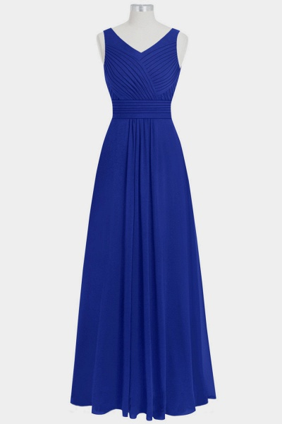 V-neck Ruffle Chiffon A-line Bridesmaid Dress