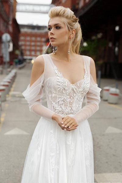 Chic Long Sleeve Cold Shoulder Tulle Wedding Dress_5