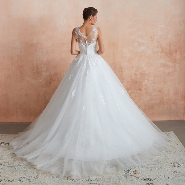 Amazing Illusion Appliques Tulle Wedding Dress_3