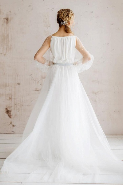 Best Pearl Long Sleeve Tulle A-line Wedding Dress_3