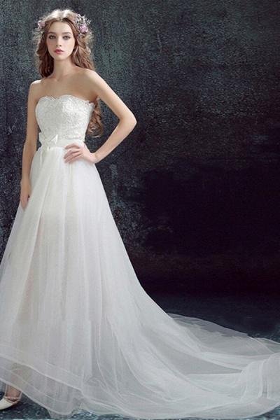 Amazing Sweetheart Tulle Chapel Train Wedding Dress_4