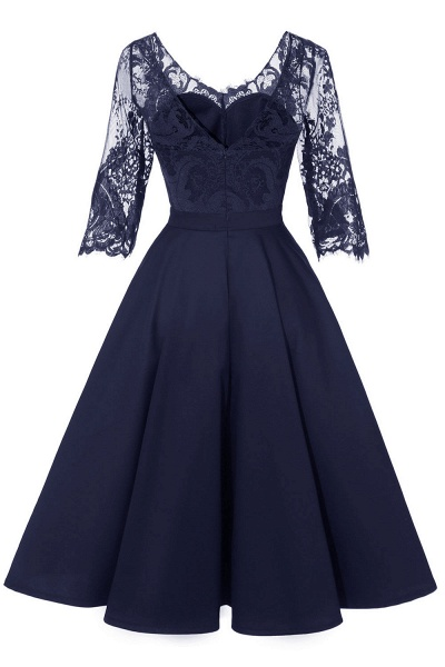 Retro Scoop neck  V-back Lace Dresses with Sleeves | A-line ruffles Burgundy Lace Cocktail Party Dresses_18