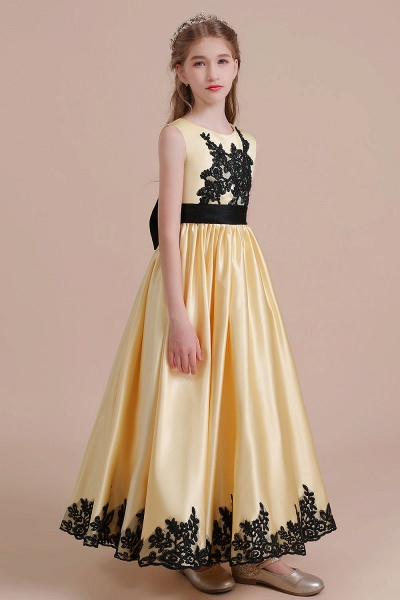 Chic Bow Appliques Satin A-line Flower Girl Dress_5