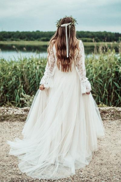 Front Slit Long Sleeve Lace Tulle Wedding Dress_3
