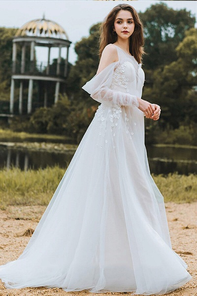 Chic Long Sleeve Cold-shoulder Tulle Wedding Dress_4