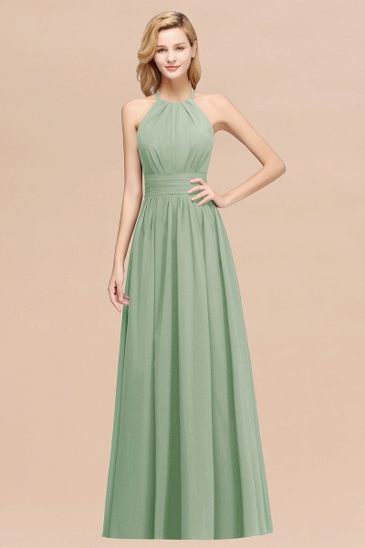 A-line Chiffon Appliques Halter Sleeveless Floor-Length Bridesmaid Dresses with Ruffles_41