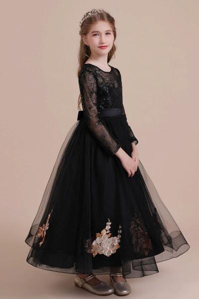Embroidered Long Sleeve Tulle Flower Girl Dress_8