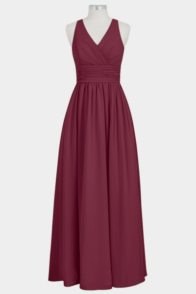 V-neck Empire Chiffon A-line Bridesmaid Dress