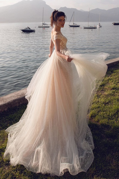 Ruffle Tulle Cathedral Train A-line Wedding Dress_3